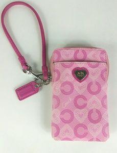 COACH Pink Wave Heart Universal Wristlet Case